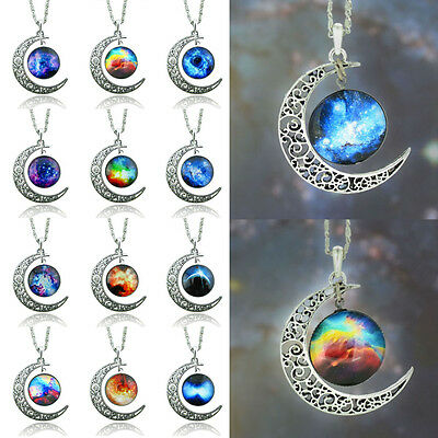 New Stylish Unisex Galaxy Universe Crescent Moon Glass Cabochon Pendant Necklace