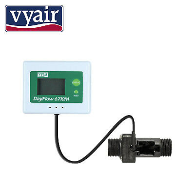 "VYAIR 1.5 to 25.0 Litres/Min Digital Flow Rate Meter with 1/2"" BSP Connections"