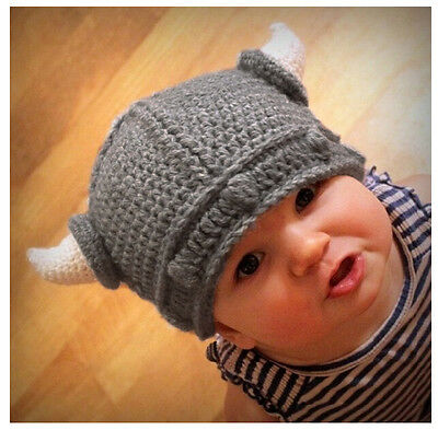 Baby Toddler Children Kids Crochet Hat Knit Photography Prop Viking Horn Beanie