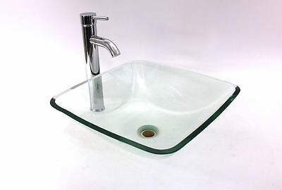 "Clear Square Glass Vessel Sink, Plus 13 1/2"" Tall Chrome Finish Faucet & Drain"
