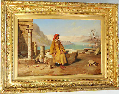 Signed 1850 Antique French Orientalist Oil Painting - Marcel Antoine Verdier