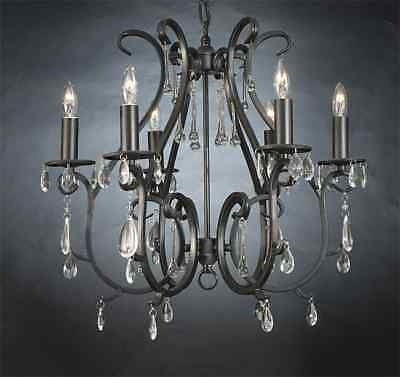 6 LIGHT CRYSTAL & WROUGHT IRON OR METAL BLACK CHANDELIER DINING ROOM KITCHEN