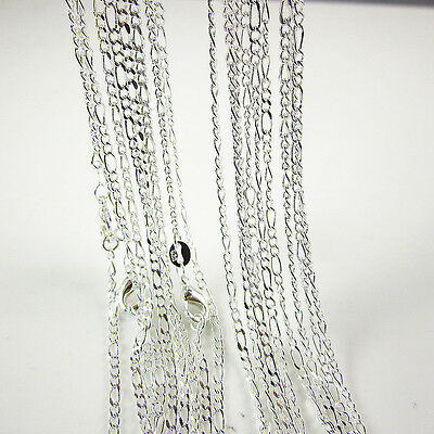 """Wholesale Lots 5 Pcs 925 Sterling Silver Plated 2mm Figaro Chain Necklace 26"""""""