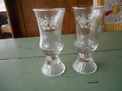 Set of 2 HOMCO Home Interior HUMMINGBIRD Etched Votive Candle Holder Glass Base