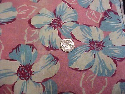 BEST Vintage Feedsack Quilt Fabric Blue Flowers on PINK Flour Sack Material 40s