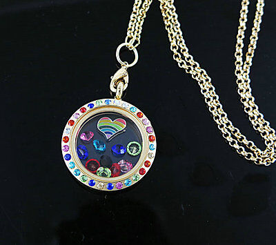 Living Floating Charm Memory round golden Locket Necklace /13pcs bead charm A14