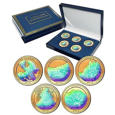 2012 Gold Plated with Hologram America the Beautiful National Parks Quarter Set