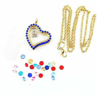Living Floating Charm Memory Heart golden Locket Necklace /13pcs charm A18