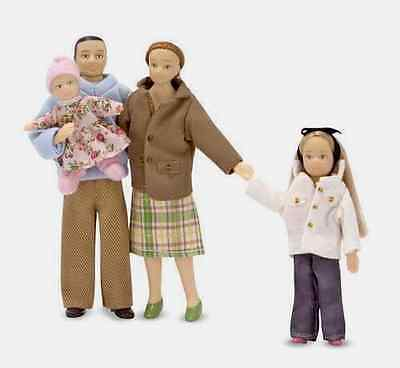 DOLLHOUSE FAMILY *Posable,caucasian #2587~4 dolls,scale1:12 ~Melissa & and Doug