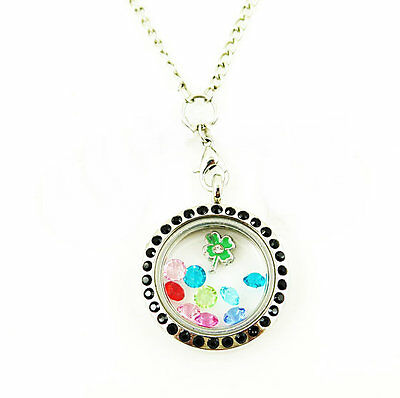 Living Floating Charm Memory round silvery Locket Necklace /13pcs bead charm A22