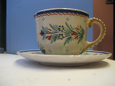 HenRiot TEACUP AND SAUCER/QUIMPER FRANCE/GREAT CONDITION