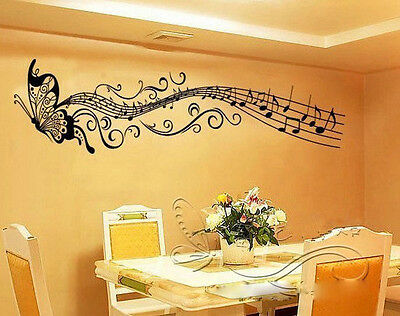 On Sale! Music butterfly wall decal sticker Home room art Decor VINYL removable