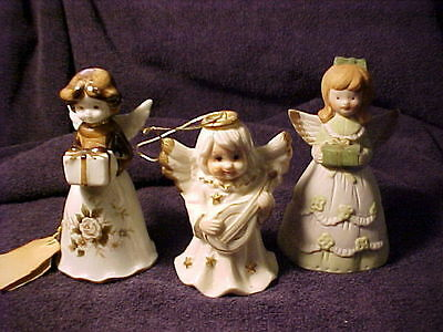 3 ANGEL VINTAGE BELLS -  ONE TRIMMED IN BROWN, ONE  IN GREEN AND  ONE IN GOLD