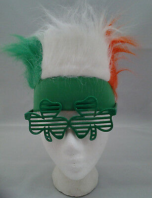St Patrick's Day Fur Headband and Shamrock Glasses Combo Pack Teen to Adult Size