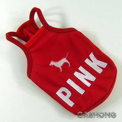 Dog&Cat Clothes PINK Embroidered Halters Tank Tops Cool Shirts_A707 Red,sz XS