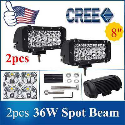 "2pcs 8"" inch 36W CREE Spot LED Work Light Bar Offroad Truck Lamp Vehicle 4WD ATV"