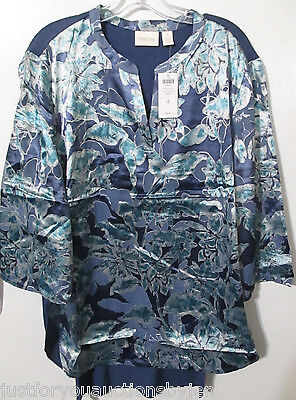 NWT Chico's Size 4 (XL/20) Frosted Floral Tunic Top Hi-Lo Hemline 3/4Sleeves