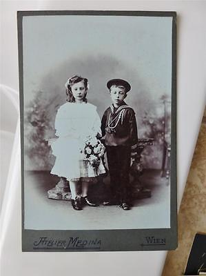 CABINET CARD old Antique Photo c1900 Pretty GIRL w SAILOR FASHION Boy Siblings