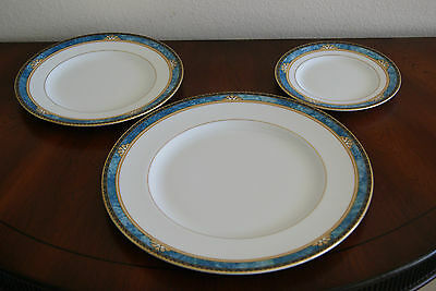 Lot of 3 Wedgwood Curzon Bone China plates Dinner, Salad, & Bread Turquoise Blue