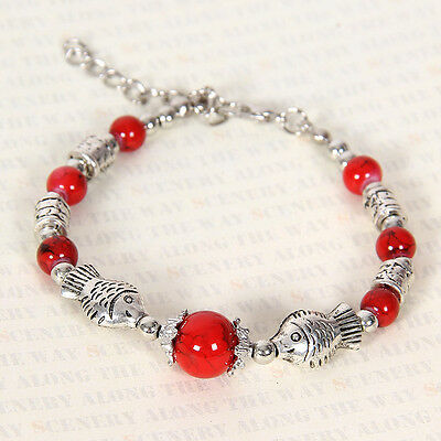 HOT Free shipping New Tibet silver multicolor jade turquoise bead bracelet S122D