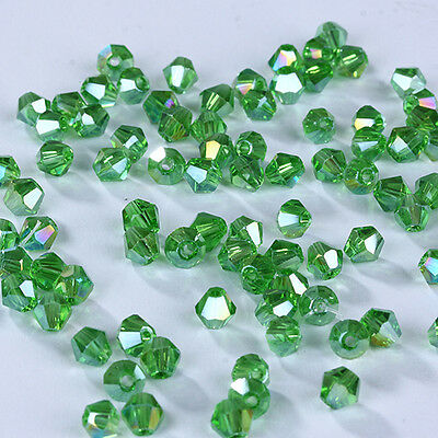 Free Ship 100pcs 3mm Austria Crystal #5301 Bicone beads Grass green AB Colors