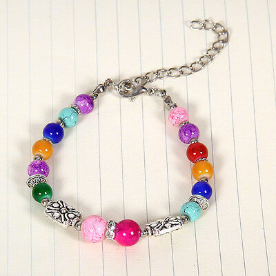 HOT Free shipping New Tibet silver multicolor jade turquoise bead bracelet S118D