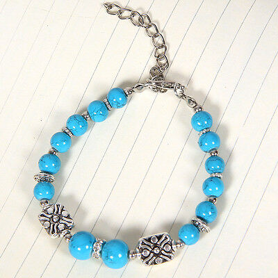 HOT Free shipping New Tibet silver multicolor jade turquoise bead bracelet S116D