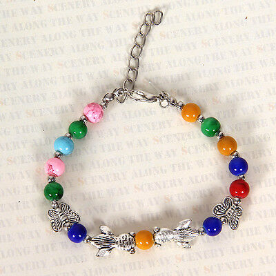 HOT Free shipping New Tibet silver multicolor jade turquoise bead bracelet S111D