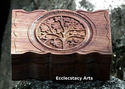 "Tree of Life Box Fancy Hand Carved Wooden Box 4x6"" W"