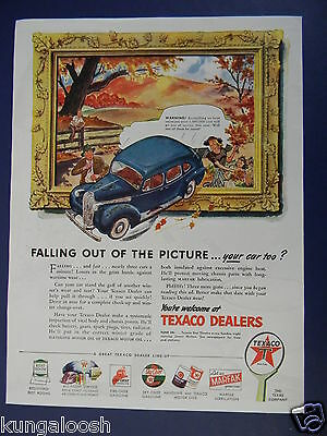 1945 FALLING OUT OF THE PICTURE...YOUR CAR TOO?   TEXACO DEALERS GAS STATION AD