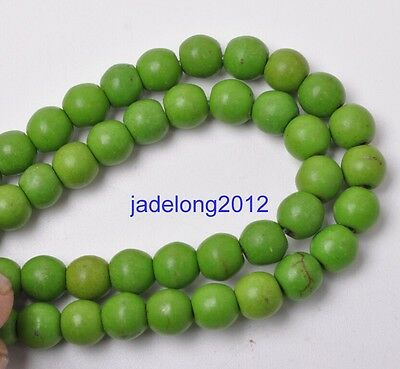 50pcs 6mm Green Charm Howlite Turquoise Gemstone Round Loose Beads Jewellery