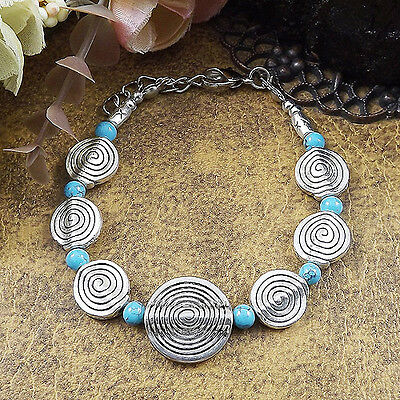 HOT Free shipping New Tibet silver multicolor jade turquoise bead bracelet S88D