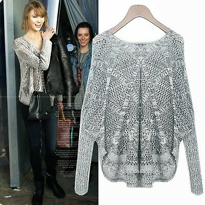 Fish Netted Hollow Out V Neck Rhombus Womens Sweater Knitwear Knit Tops Casual S