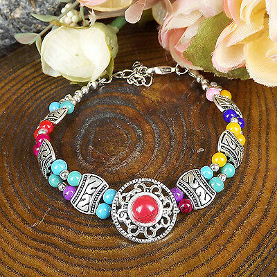 HOT Free shipping New Tibet silver multicolor jade turquoise bead bracelet S81D