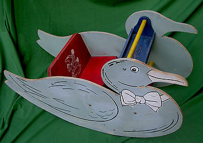 1930s Childs Large Colorful Duck Rocker in Blue for Playtime