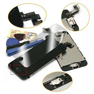 Black LCD Glass Digitizer Screen Assembly Home Button Front Camera For iPhone 5S