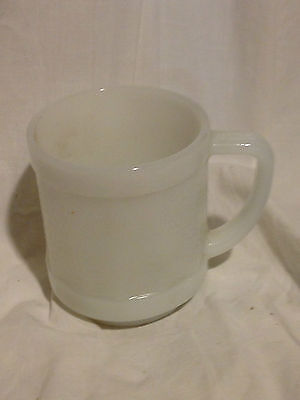 Federal Glass White Opaque Milk Glass Dotted Paneled Mugs (s/4) - Vintage USA