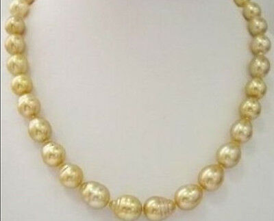 "HUGE 18""10-13MM NATURAL South Sea GENUINE Gold DROP Pearl Necklace"