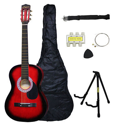 NEW Crescent Beginners HANDMADE RED Acoustic Guitar+Stand And Extras