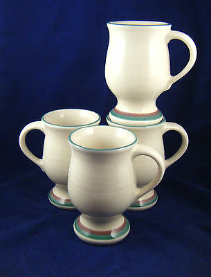 """Pfaltzgraff JUNIPER 5"""" Tall Latte Mugs  Made in the USA Excellent Mauve Teal 4PC"""
