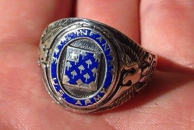 VINTAGE WW2 34th Infantry Regiment 24th DIVISION MILITARY STERLING RING 10 1/2