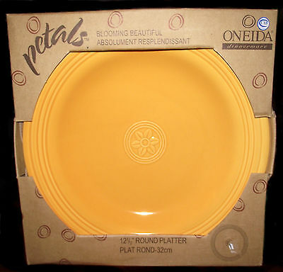 "NIB Oneida Petals Blooming Beautiful MARIGOLD 12 1/2"" Round Serving Platter"