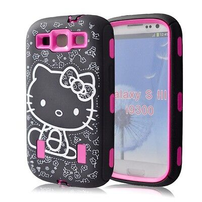 Hot Pink 3Piece Hybrid Hello Kitty Case Cover For Samsung Galaxy S3 SIII i9300
