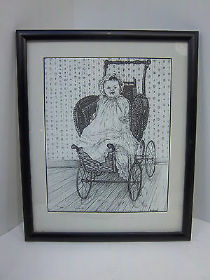 Bicknell Artist Signed Numbered Print Framed Baby Carriage, black and white