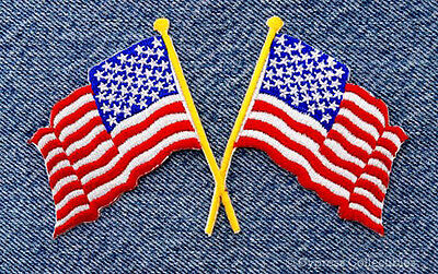 CROSSED AMERICAN FLAGS - EMBROIDERED IRON-ON PATCH NEW USA applique biker