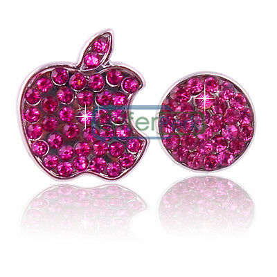 Crystals Bling Deco Home Button Logo Stickers For iPhone 5 5S 4 Touch Hot Pink