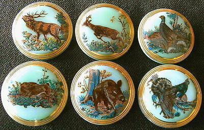 Collection of 6 Czech Glass Decal Buttons #D675 - WILD ANIMALS!!!!!!!!!!!!!