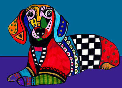 DOXIE PRINT ART Dog HEATHER GALLER Blue Art Poster Painting 8X10