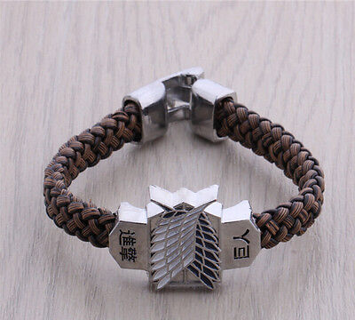 One Attack On Titan Anime Cosplay Bracelet weave brown