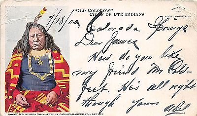 "NATIVE AMERICAN Indian Postcard 1900 ""Old COLOROW"" Chief Ute Indians 191"